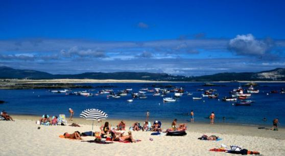 The beach in the fishing village of Corrubedo, Galicia